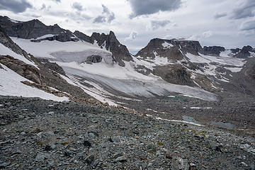 reach other side of ridge, see Knife Point Glacier