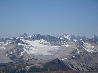 Monmouth Mtn is the highest peak at the north edge of the Lillooet Icefield (10,440 ft)