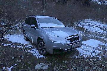 Fresh snow on my car at the trailhead