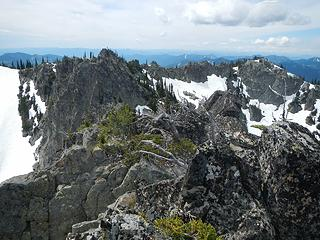 central and west peaks seen from the north peak