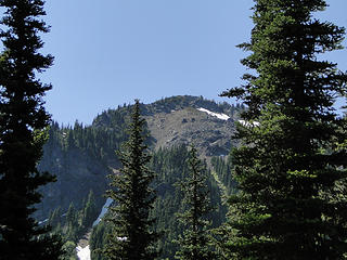 Looking back up to Crystal Peak from Crystal Lakes trail.
