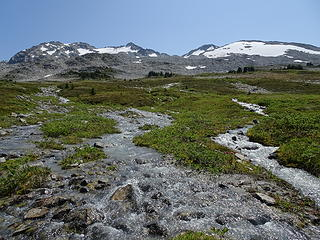 Braided creek above camp (draining glaciers on Stanza Peak)