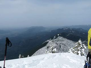 Looking west from summit of West Peak - noticeable snow line
