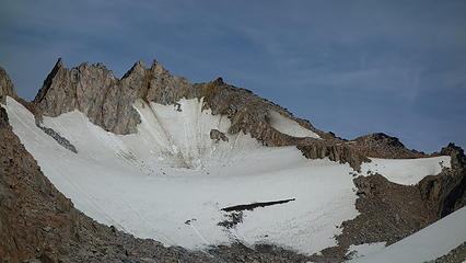 East face of Puntado. Our route is the steep rise on the left edge of the photo