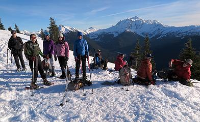 All-star group taking a break just above Welcome Pass before dropping into the forest