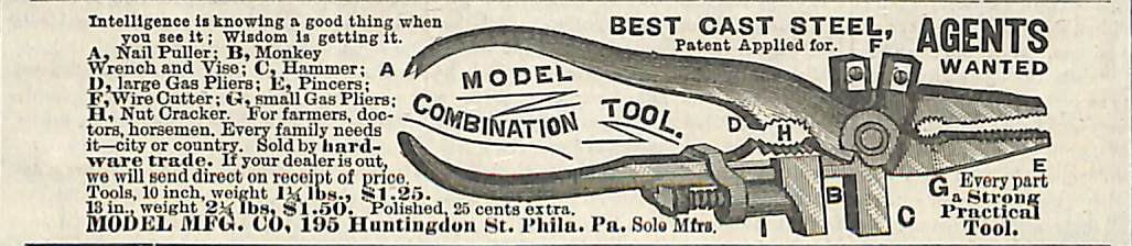 1888 Model Mfg. Co. Philadelphia Pa. Combination Tool ad