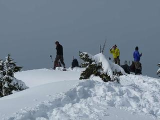 Other group on Higgins enjoying lunch at the summit