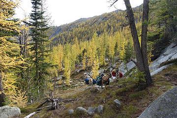 climbing toward Peepsight Pass