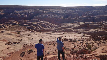 Looking back towards the rim of the mesa where the car is
