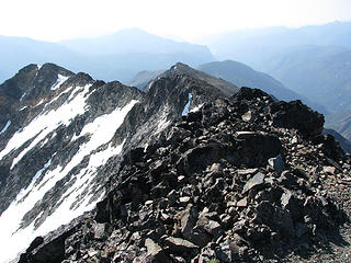 Looking back at part of the ridge from the summit.