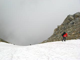 Snow at top of the gully