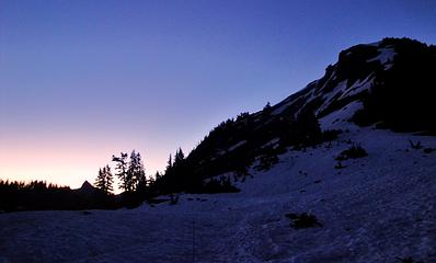 First light looking toward Pocket Peak and the Skagway Pass
