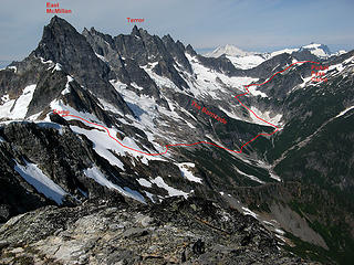 The entire route across McMillan Cirque (looking back from the far end)