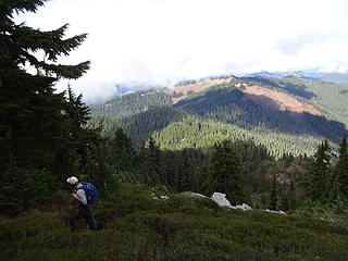 We left the trail at a basin and headed up the north ridge to Captain Point. Scorpion Mtn, Johnson Ridge and much of our route is visible from here.