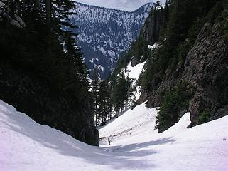 Stefan approaching upper basin on Crosby