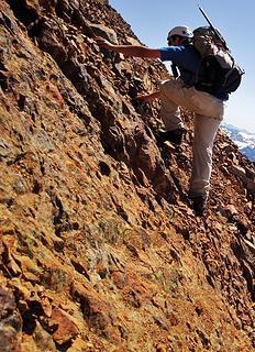 Very steep, loose rock