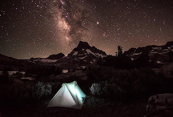 Camping under Mt. Banner and Milky Way at Thousand Island Lake