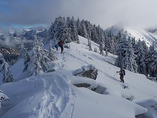 Men on the summit ridge