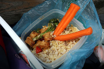 What do you do when you forget your fork?  Use carrots as chopsticks, of course