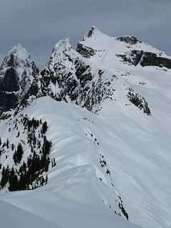 The group traverses toward Thornton Peak (visible in upper middle of photo)