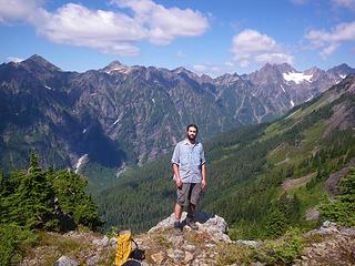 posing in front of Burke Range