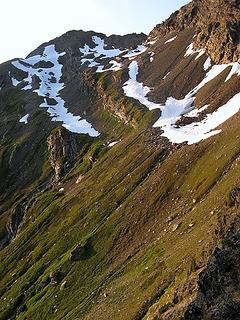 Evening light on Clark Peak route