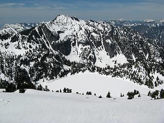 Preacher & Caroline Lake, cornice pieces at left, our tracks at right