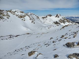 The basin north of Thompson. Thin snow and lots of postholing in here.