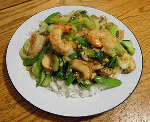 Wild Argentine Shrimp with Snap Pea Bok Choy and Mushroom Stir-Fry 040320