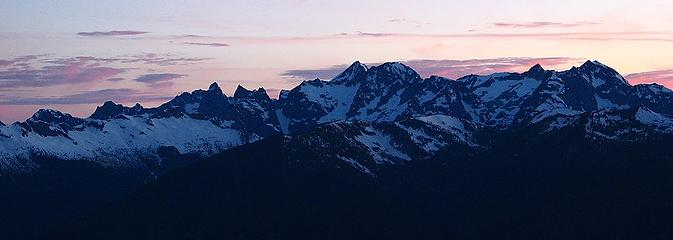 Chilliwack peaks (Mox, Spickard, Custer, Rahm) at sunset
