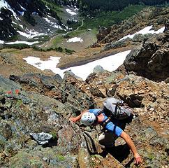 Gimpilator down climbing the grey vein