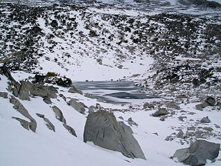 Tranquil Lake upper Enchantments almost frozen over 10/6/07