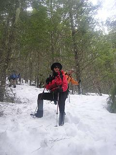 Coming down a steep section - sans snowshoes