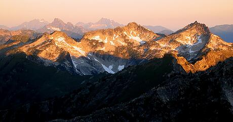 Alpenglow on the Sulphur 7140s, viewed from farther east on the high route