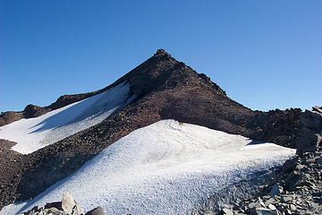 This is the top of Old Snowy taken from the upper PCT route that avoids crossing the Packwood Glacier. September 14 2008