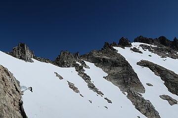 James traversing snow towards Tower 1