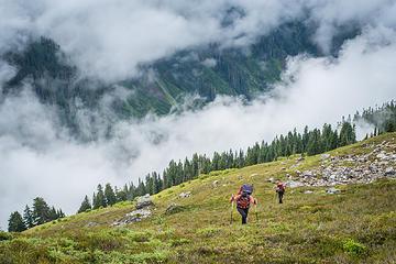 The steep southwestern slope of Bacon Peak