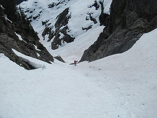 Dave climbing the gully