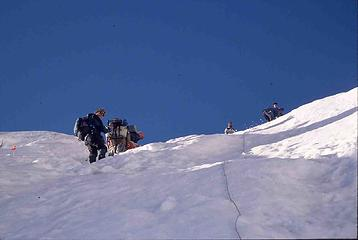 Kinda steep going up in places - 60 deg. The rope was for the porters, who were in sneakers.