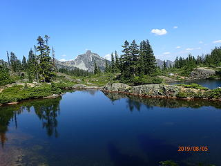 2 of the Rampart lakes with I believe Hibox behind it (correct me if I'm wrong)