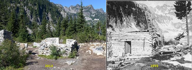 Comparison of Snow Lake cabin in 2014 and 1955. 1955 shot is by Karl Duff.
