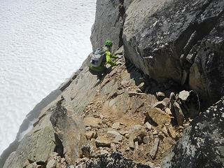 sketchy class 4 section on dirty slabs with a deep moat below