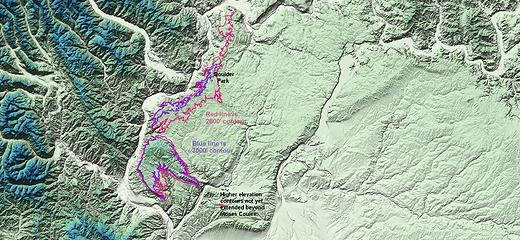 Waterville Plateau's western ridge, 2800-3000.edtd - map by Mark Pullen