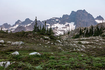 """morning """"light"""" on lemah, chimney, overcoat from a meadow above vista lakes"""