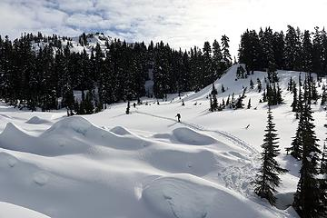 Hiking across the basin, past debris from earlier avalanches