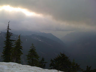 Fog trying so hard to lift over the Middle Fork drainage
