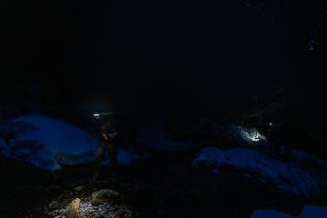 It's hard to take pictures of moving hikers in the dark