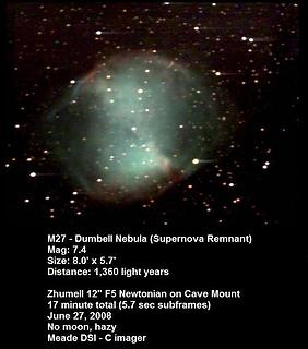 M27 with the yard cannon. This 'planetary' nebula (named for their round shape) is the brightest in the sky, even visible in binoculars.