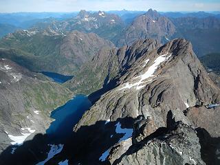 summit view north, naming nearest first and furthest last, DeVoe, Piveto, Rambler, Colonel Foster, Elkhorn, Victoria