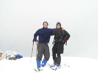 Guys on the first snowshoe summit!